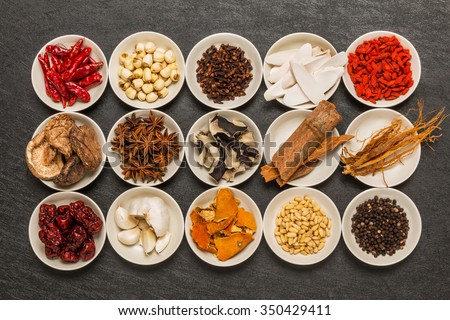 Health food dishes prepared with medicinal herbs - stock photo