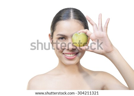 Health girl show Apple with smile face, health food concept, asian woman beauty - stock photo