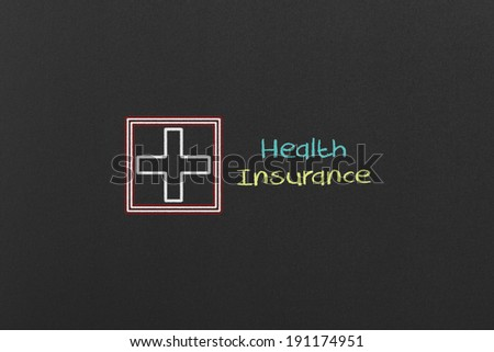Health Insurance Concept on a Black Chalkboard - stock photo