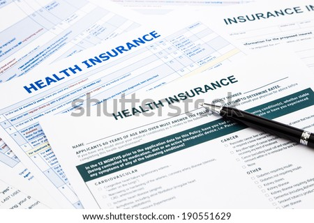 health insurance form, paperwork and questionnaire for insurance concepts