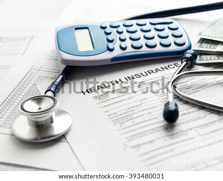 Health insurance form with stethoscope concept for life planning - stock photo