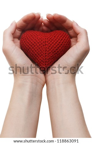 Health insurance or love concept. isolated on white background - stock photo