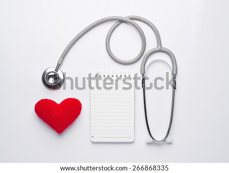 Health insurance or love concept isolated on white background. View from top. - stock photo