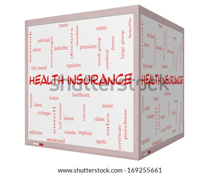 Health Insurance Word Cloud Concept on a 3D cube Whiteboard with great terms such as healthcare, reform, enroll, claims and more. - stock photo