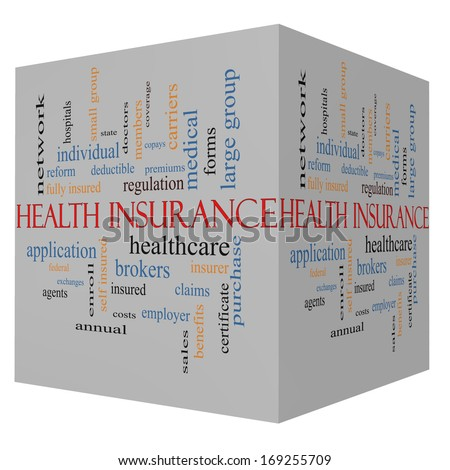 Health Insurance Word Cloud Concept on a 3D Cube with great terms such as healthcare, reform, enroll, claims and more. - stock photo