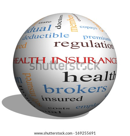 Health Insurance Word Cloud Concept on a 3D Sphere with great terms such as healthcare, reform, enroll, claims and more. - stock photo