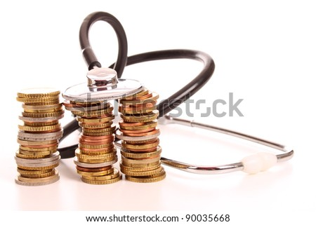 Health investigation of the Euro to cure the economic crises is a world wide problem - stock photo