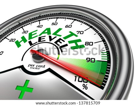 health level conceptual meter indicate hundred per cent, isolated on white background - stock photo