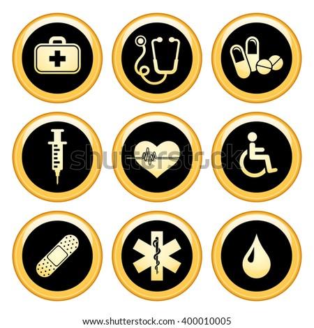 Health & Medical Icons Gold Icon Set. Raster version. - stock photo