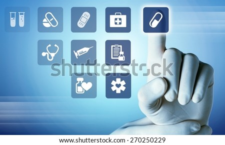 Health. Medicine doctor hand working with modern computer interface as medical concept - stock photo