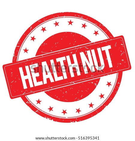 HEALTH NUT stamp sign text word logo red.