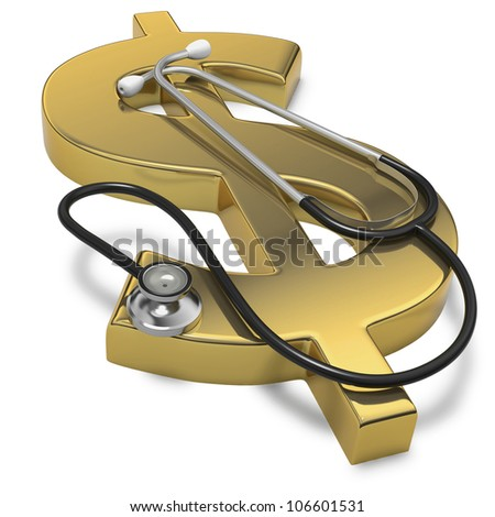 Health of the Dollar currency with stethoscope