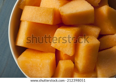 Health Organic Orange Cantaloupe All Cut Up - stock photo