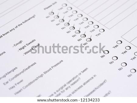 Health Questionnaire - stock photo