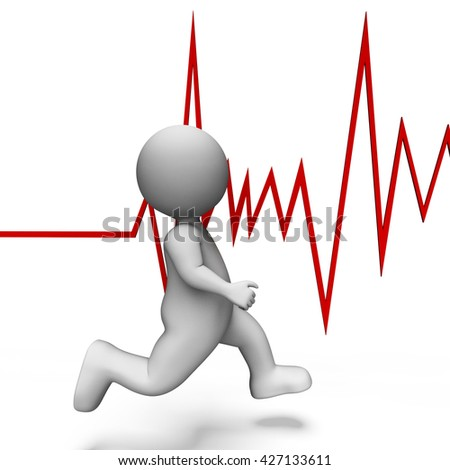Health Running Meaning Heart Rate And Illustration 3d Rendering