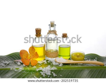 health spa and banana leaf texture with many white salt  - stock photo