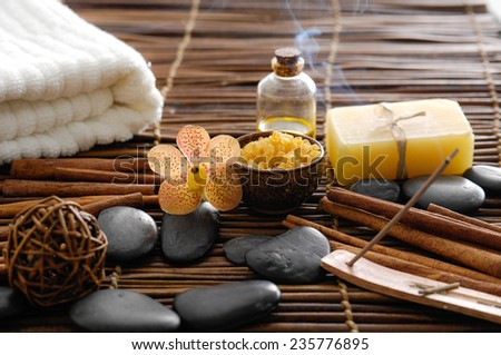 health spa setting on bamboo mat