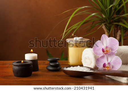 health spa setting on wooden background. - stock photo