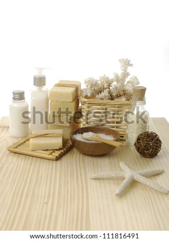 health spa setting on wooden board - stock photo
