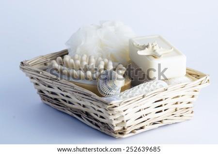 health spa setting over white background - stock photo