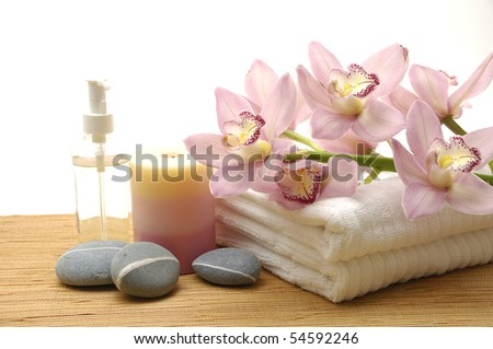health spa setting with copy space - stock photo