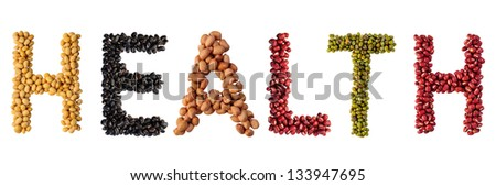health text made by group of beans and lentils - stock photo