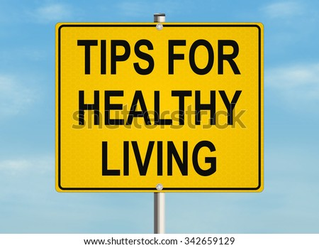 Health tips. Road sign on the sky background. Raster illustration.