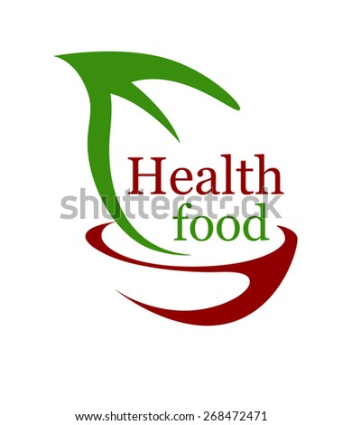 Health vegetarian food icon with a stylized bowl and green leaf with the text - Health Food - in green and brown symbolising bio or organic food for a healthy diet - stock photo