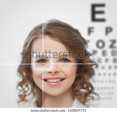 health, vision, medicine, laser correction, happy people concept - smiling pre-teen girl with optometric table or eyesight testing board - stock photo
