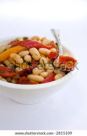 Health White Bean Salad with roasted red peppers and roasted tomatos ...