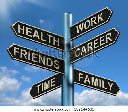Health Work Career Friends Signpost Shows Life And Lifestyle Balance - stock photo
