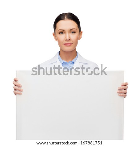 healthcare, advertisement and medicine concept - calm female doctor with white blank board - stock photo