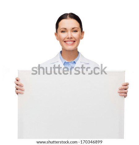 healthcare, advertisement and medicine concept - smiling female doctor with white blank board