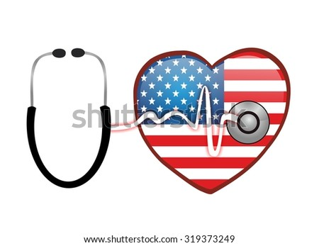 healthcare and heart with american flag - stock photo