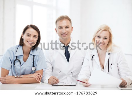 healthcare and medical concept - doctors on a meeting