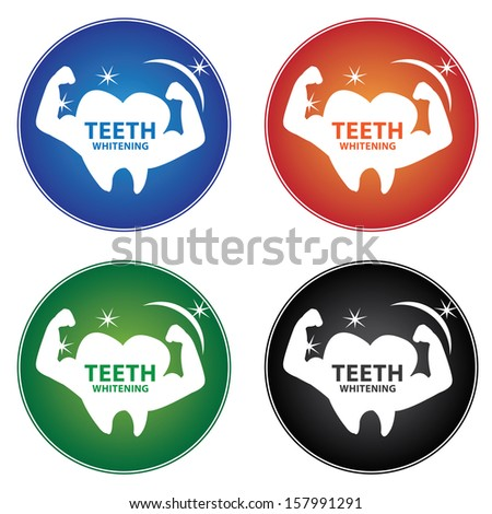 Healthcare and Medical Concept Present By Colorful Teeth Whitening Icon Isolated on White Background  - stock photo