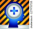 Healthcare and Medical Concept Present By Head With Blue Cross Sign Icon in Dark and Yellow Caution Zone Background - stock photo