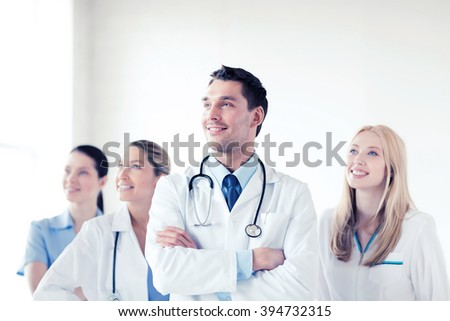 healthcare and medical - young team or group of doctors - stock photo