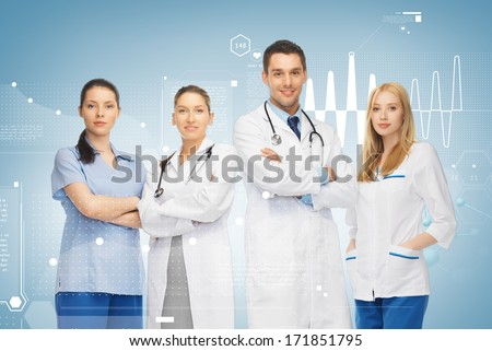 healthcare and medicine concept - young team or group of doctors - stock photo