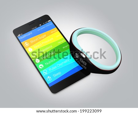 Healthcare app for smartphone concept. Synchronized to smart wristband - stock photo