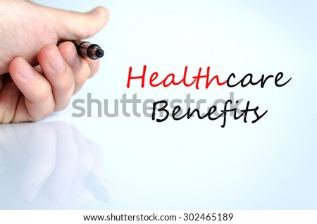 Healthcare benefits text concept isolated over white background - stock photo