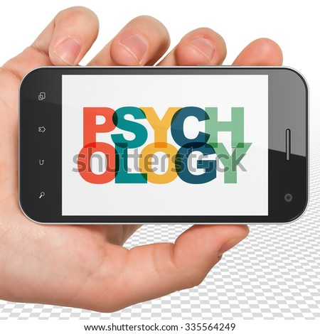 Healthcare concept: Hand Holding Smartphone with Painted multicolor text Psychology on display - stock photo