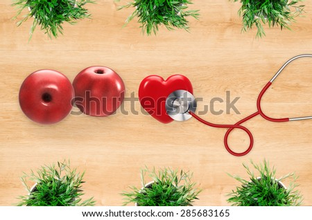 healthcare concept on wooden board background - stock photo