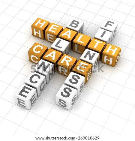 Healthcare crossword puzzle, 3d render, white background