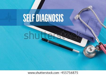 HEALTHCARE DOCTOR TECHNOLOGY  SELF DIAGNOSIS CONCEPT - stock photo