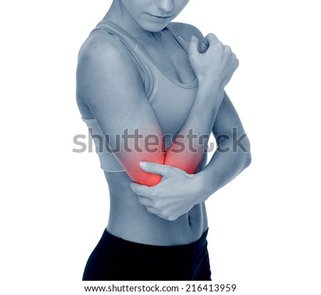 healthcare, fitness and medicine - sporty woman with pain in elbow - stock photo