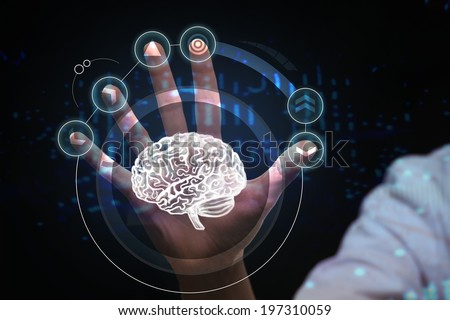 Healthcare, medical and future technology concept - female doctor with virtual interface - stock photo