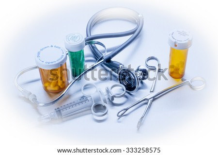 Healthcare medical objects in blue - stock photo