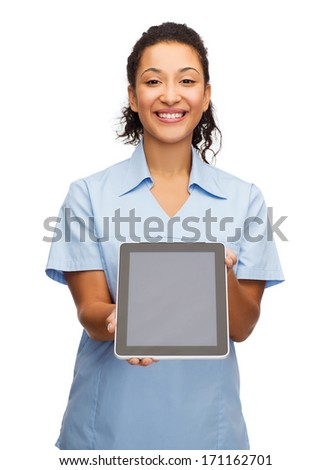 healthcare, medicine and technology concept - smiling african american female doctor or nurse with tablet pc computer - stock photo