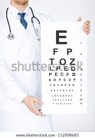 healthcare, medicine and vision concept - male ophthalmologist with eye chart - stock photo